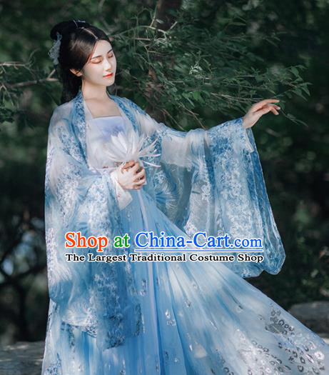 Traditional Chinese Tang Dynasty Court Infanta Blue Hanfu Dress Ancient Royal Princess Historical Costumes for Women