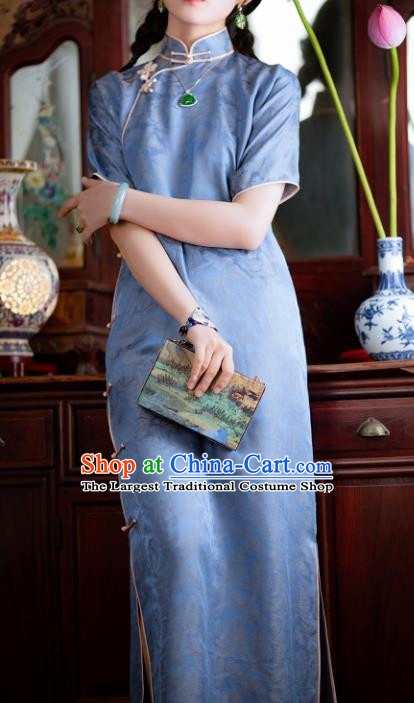 Traditional Chinese National Lake Blue Silk Qipao Dress Tang Suit Cheongsam Costume for Women