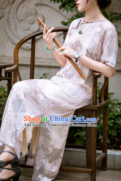 Traditional Chinese Late Qing Dynasty White Silk Qipao Dress National Tang Suit Cheongsam Costume for Women