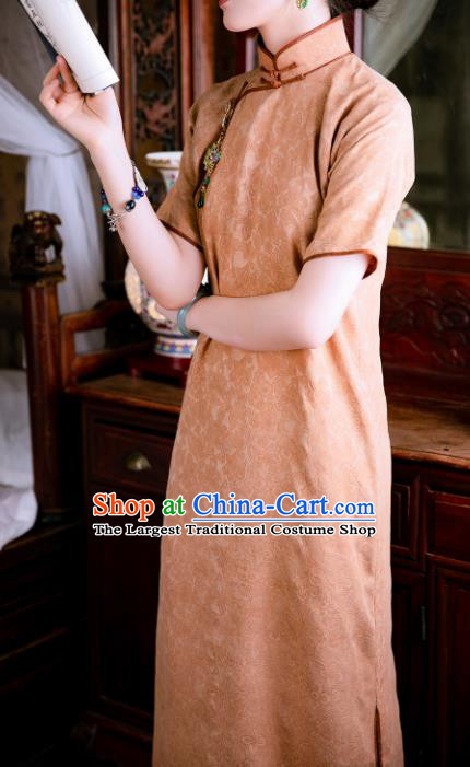 Traditional Chinese National Apricot Yellow Silk Qipao Dress Tang Suit Cheongsam Costume for Women