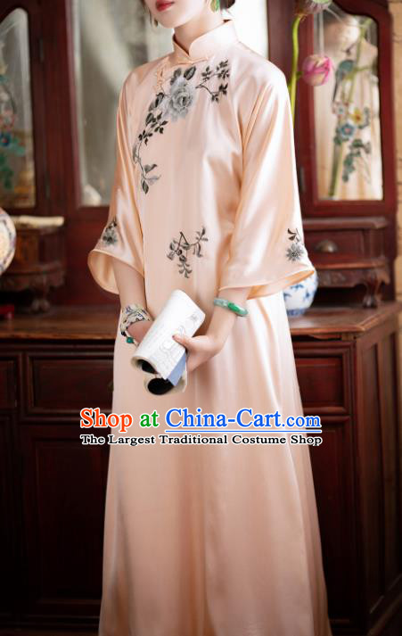 Traditional Chinese National Embroidered Peony Pink Silk Qipao Dress Tang Suit Cheongsam Costume for Women