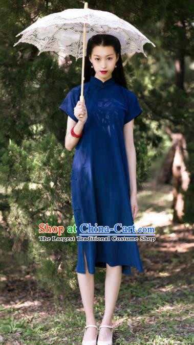 Traditional Chinese Deep Blue Silk Qipao Dress National Tang Suit Cheongsam Costume for Women