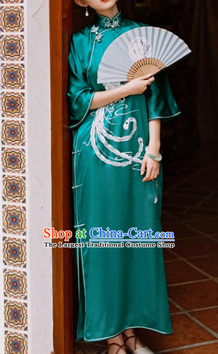 Traditional Chinese Embroidered Phoenix Green Silk Qipao Dress National Tang Suit Cheongsam Costume for Women