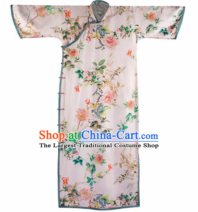 Traditional Chinese Printing White Silk Qipao Dress National Tang Suit Cheongsam Costume for Women