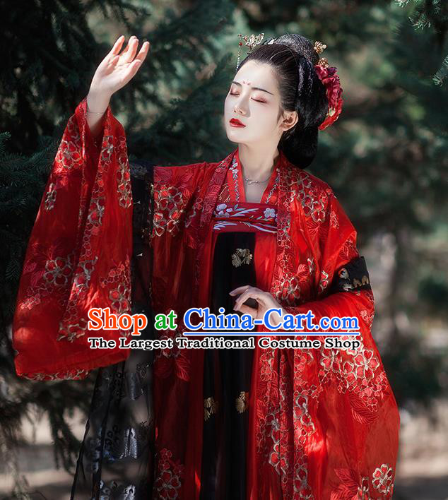 Traditional Chinese Tang Dynasty Wedding Red Hanfu Dress Ancient Court Princess Historical Costumes for Women