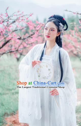 Traditional Chinese Tang Dynasty Palace Lady White Hanfu Dress Ancient Court Princess Historical Costumes for Women