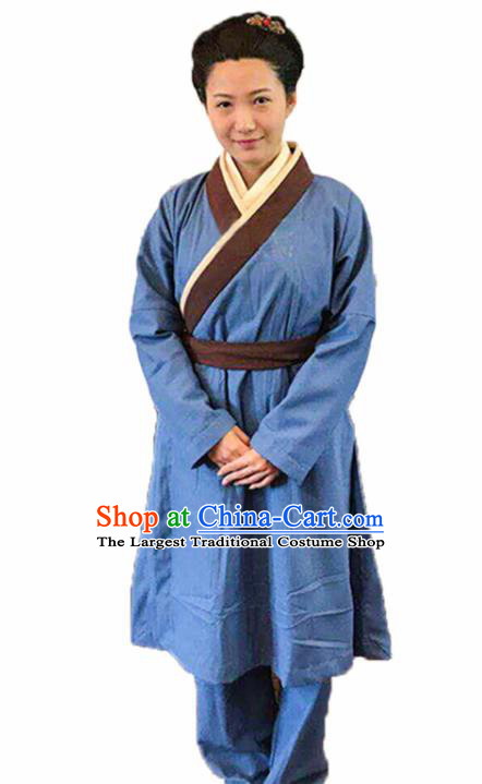 Chinese Traditional Han Dynasty Female Civilian Blue Costume Ancient Farmwife Clothing for Women