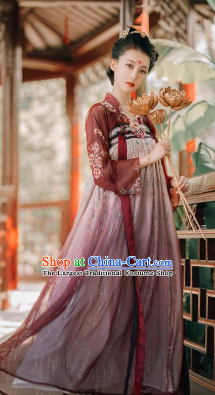 Traditional Chinese Tang Dynasty Royal Princess Historical Costumes Ancient Palace Lady Purple Hanfu Dress for Women