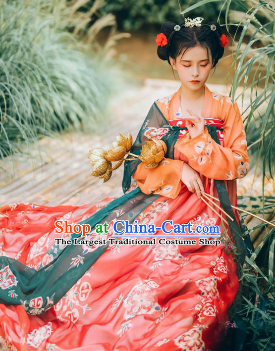 Traditional Chinese Tang Dynasty Court Maid Replica Costumes Ancient Palace Lady Hanfu Dress for Women