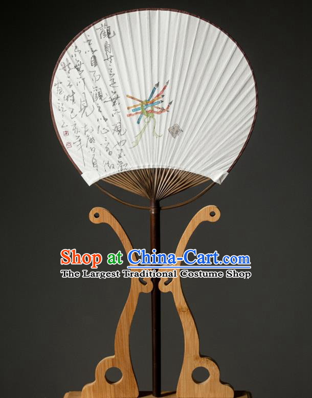 Traditional Chinese Handmade Paper Palace Fans Ink Painting Fans