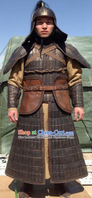 Chinese Ancient Cosplay Soldier Armor and Helmet Traditional Yuan Dynasty General Costumes Complete Set for Men