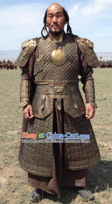 Chinese Ancient Drama Soldier Armor and Helmet Traditional Yuan Dynasty General Costumes Complete Set for Men