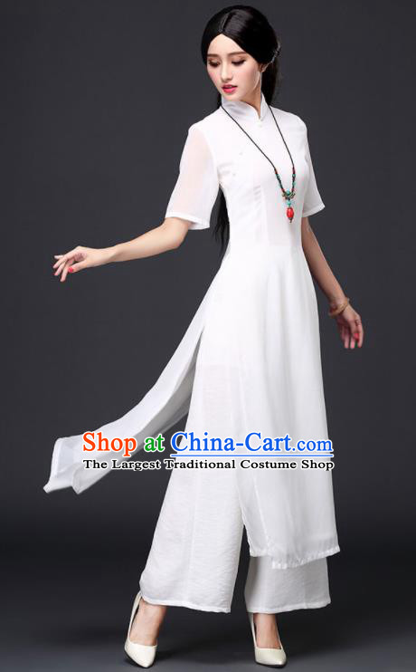 Traditional Chinese Classical White Veil Cheongsam National Costume Tang Suit Qipao Dress for Women