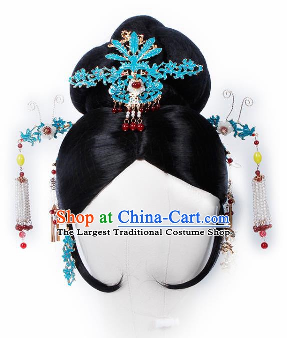 Chinese Traditional Qing Dynasty Queen Wigs and Hairpins Ancient Imperial Consort Hair Accessories for Women