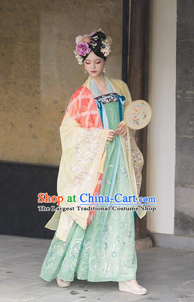 Chinese Tang Dynasty Imperial Consort Hanfu Dress Traditional Ancient Court Senior Concubine Costumes for Women