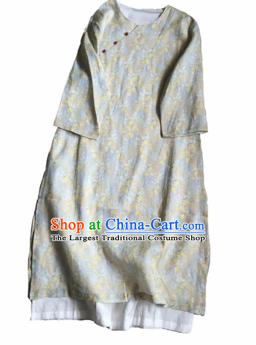 Chinese Traditional Tang Suit Printing Light Grey Ramie Cheongsam National Costume Qipao Dress for Women