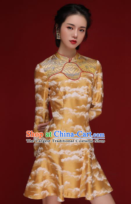 Chinese Traditional Tang Suit Yellow Silk Cheongsam National Costume Qipao Dress for Women