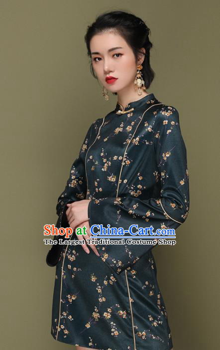 Chinese Traditional Tang Suit Atrovirens Silk Cheongsam National Costume Qipao Dress for Women