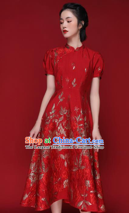 Chinese Traditional Tang Suit Red Silk Cheongsam National Costume Qipao Dress for Women