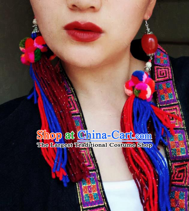 Chinese Traditional Ethnic Ear Accessories Nationality Colorful Wool Yarn Earrings for Women