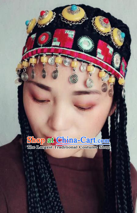 Chinese Traditional Zang Ethnic Knitted Hat Hair Accessories Tibetan Nationality Headwear for Women