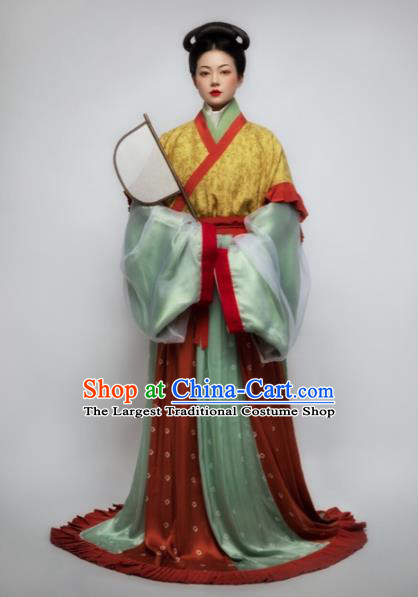 Chinese Ancient Court Consort Hanfu Dress Traditional Jin Dynasty Imperial Concubine Embroidered Replica Costume for Women