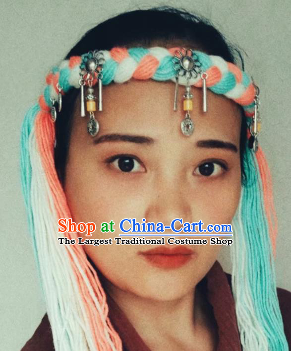 Chinese Traditional Tibetan Ethnic Wool Knitting Hair Accessories Zang Minority Nationality Headwear for Women