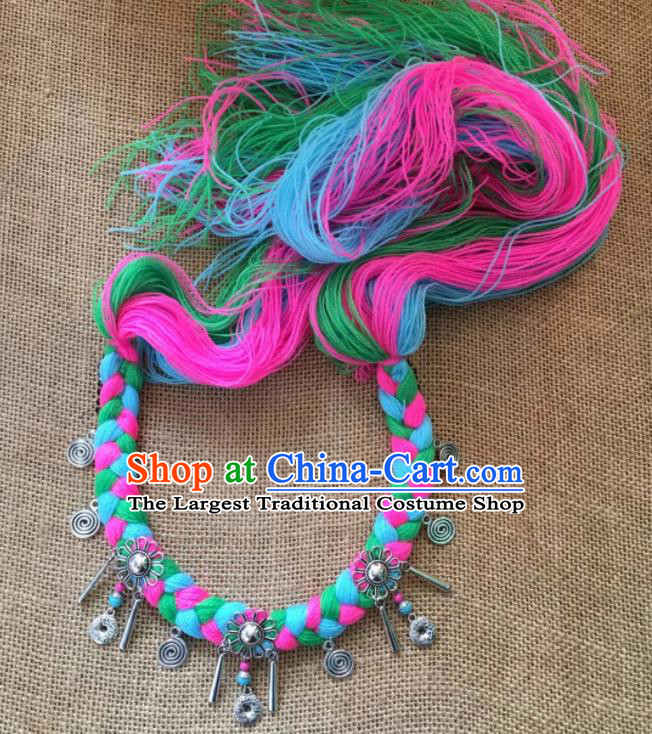 Chinese Traditional Tibetan Ethnic Colorful Wool Yarn Knitting Hair Clasp Zang Minority Nationality Headwear for Women
