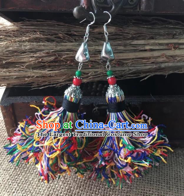 Chinese Traditional Ethnic Colorful Wool Yarn Ear Accessories Miao Nationality Silver Earrings for Women