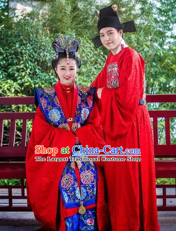Traditional Chinese Ming Dynasty Wedding Hanfu Clothing Ancient Court Bride and Bridegroom Replica Costumes Complete Set