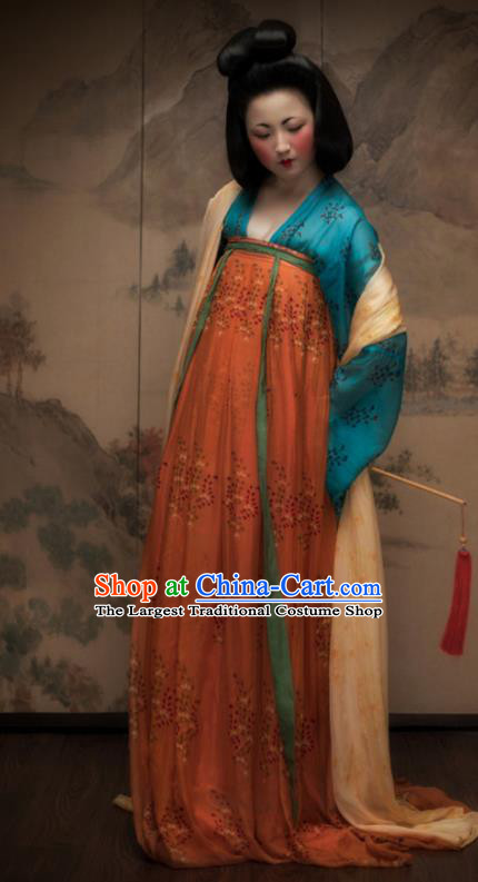 Traditional Chinese Tang Dynasty Court Maid Orange Hanfu Dress Ancient Palace Lady Replica Costumes for Women