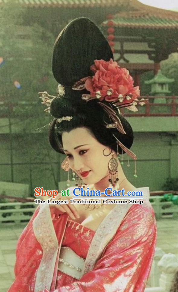 Chinese Classical Ancient Female Tang Dynasty Yang Yuhuan Empress Wig and Hair Jewelry Set