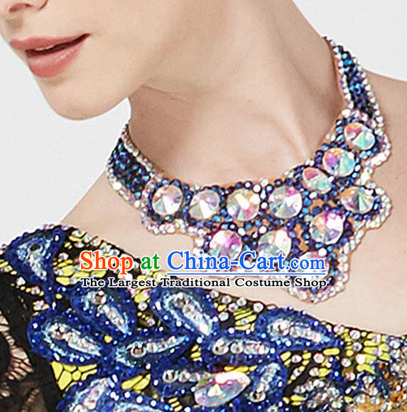 Top Grade Latin Dance Blue Necklet Accessories International Ballroom Dance Competition Necklace for Women
