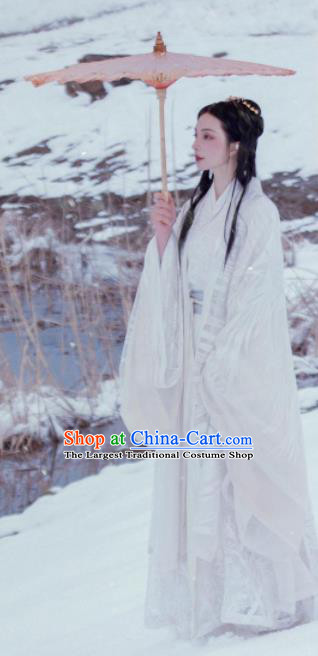 Traditional Chinese Jin Dynasty Nobility Lady White Dress Ancient Hanfu Royal Princess Replica Costumes for Women
