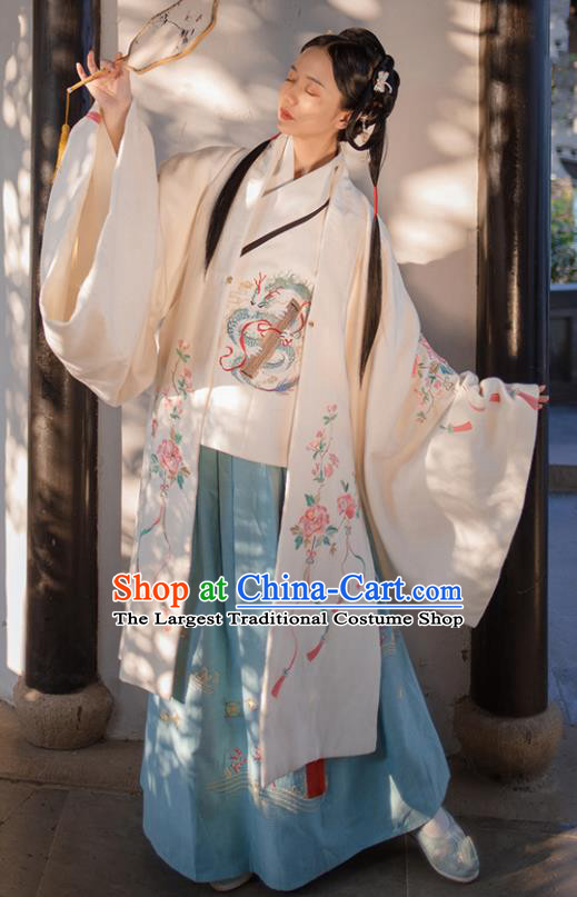 Traditional Chinese Ming Dynasty Embroidered Dress Ancient Hanfu Nobility Lady Replica Costumes for Women