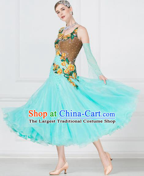 Top Grade Modern Dance Light Green Dress Ballroom Dance International Waltz Competition Costume for Women