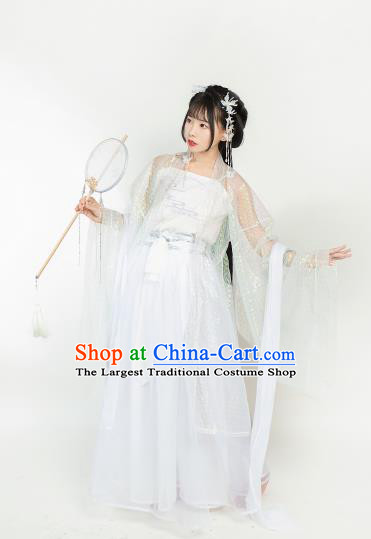 Ancient Chinese Tang Dynasty White Hanfu Dress Nobility Lady Embroidered Historical Costumes for Women