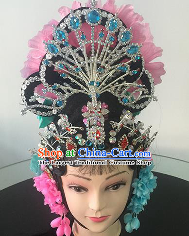 Chinese Beijing Opera Diva Headgear Traditional Peking Opera Princess Wig Sheath and Hair Accessories for Women