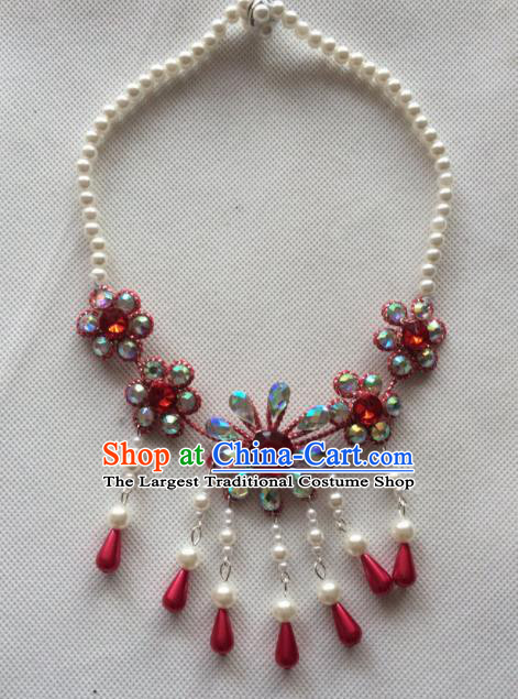 Chinese Beijing Opera Princess Red Flowers Necklace Traditional Peking Opera Diva Necklet Accessories for Women