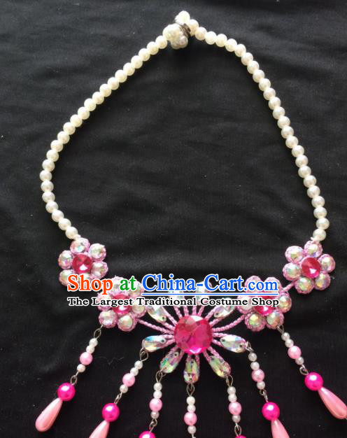 Chinese Beijing Opera Diva Pink Flowers Necklace Traditional Peking Opera Princess Necklet Accessories for Women