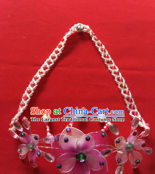 Chinese Beijing Opera Princess Pink Flowers Necklace Traditional Peking Opera Diva Accessories for Women