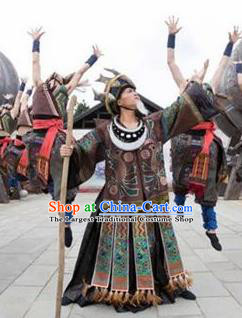 Chinese Jin Show Dan Zhai Miao Nationality Priest Dance Clothing Stage Performance Costume for Men