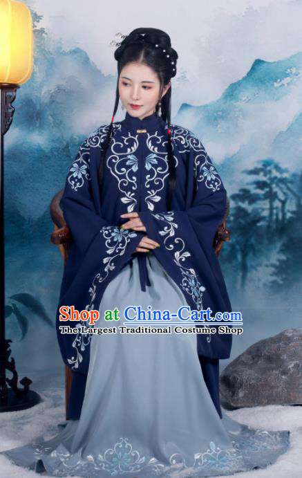 Traditional Chinese Ming Dynasty Royal Princess Replica Costumes Ancient Nobility Lady Navy Hanfu Dress for Women