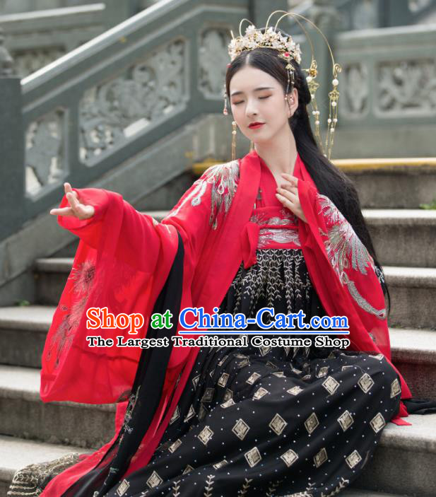 Traditional Chinese Tang Dynasty Princess Wedding Replica Costumes Ancient Nobility Lady Hanfu Dress for Women
