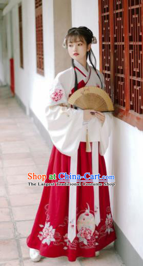 Traditional Chinese Ming Dynasty Rich Lady Replica Costumes Ancient Nobility Embroidered Hanfu Dress for Women