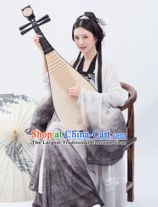 Traditional Chinese Tang Dynasty Court Lady Replica Costumes Ancient Imperial Concubine Grey Hanfu Dress for Women