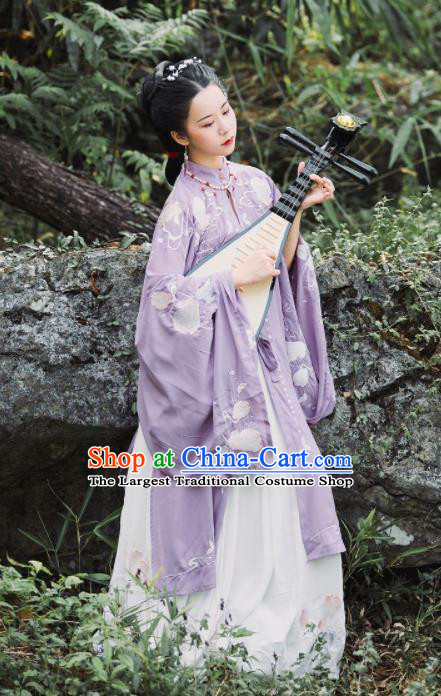 Traditional Chinese Ming Dynasty Nobility Mistress Replica Costumes Ancient Royal Countess Purple Hanfu Dress for Women