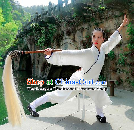 Chinese Traditional Wudang Taoist Nun White Martial Arts Outfits Kung Fu Tai Chi Costume for Women