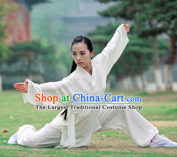 Chinese Traditional Wudang Taoist Priest Martial Arts White Outfits Kung Fu Tai Chi Costume for Women