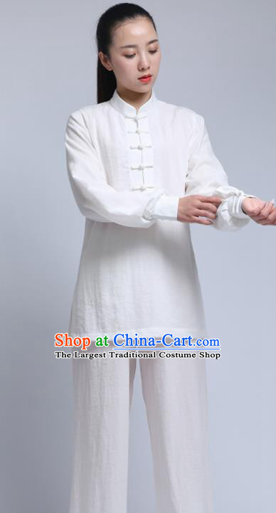 Chinese Traditional Wudang Martial Arts White Outfits Kung Fu Tai Chi Costume for Women